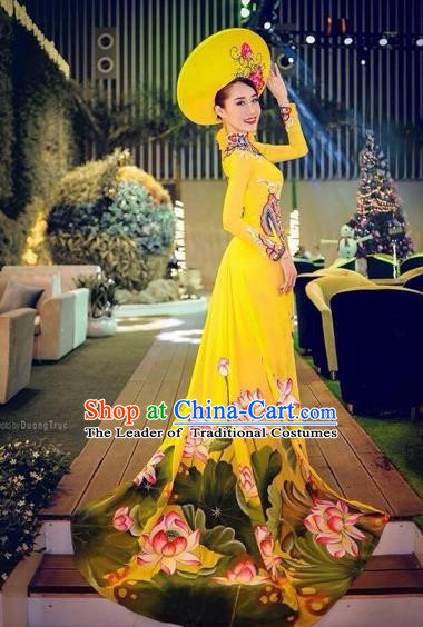 Traditional Top Grade Asian Vietnamese Costumes Classical Princess Full Dress, Vietnam National Ao Dai Dress Hand Painting Lotus Yellow Cheongsam for Women