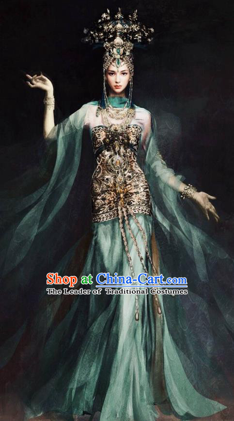 Traditional Chinese Ancient Shang Dynasty Su Daji Flying Dance Costume and Headwear, China Mythology Television Zhao Ge Ancient Palace Peri Clothing Complete Set for Women