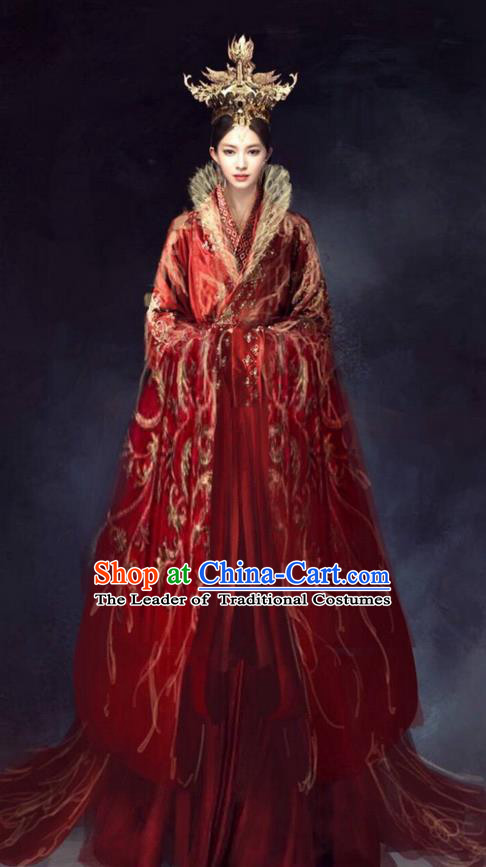 Traditional Chinese Ancient Shang Dynasty Imperial Empress Tailing Embroidered Costume, China Mythology Television Zhao Ge Ancient Palace Queen Wedding Clothing and Headpiece Complete Set for Women