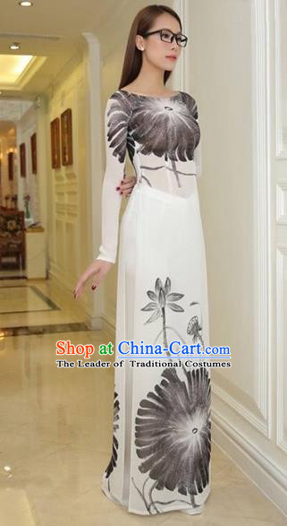 Traditional Top Grade Asian Vietnamese Costumes Classical Princess Ink Painting Full Dress, Vietnam National Ao Dai Dress Cheongsam for Women