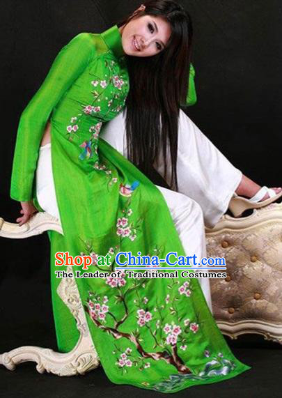 Traditional Top Grade Asian Vietnamese Costumes Classical Princess Painting Peach Blossom Full Dress, Vietnam National Ao Dai Dress Green Cheongsam for Women
