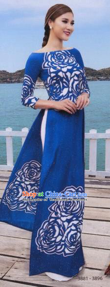 Traditional Top Grade Asian Vietnamese Costumes Classical Princess Painting Full Dress, Vietnam National Ao Dai Dress Blue Cheongsam for Women