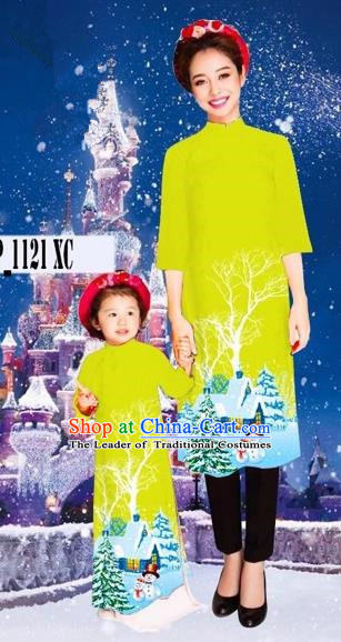 Traditional Top Grade Asian Vietnamese Costumes Classical Printing Christmas Kelly Full Dress, Vietnam National Ao Dai Dress Mother-daughter Cheongsam for Women for Kids