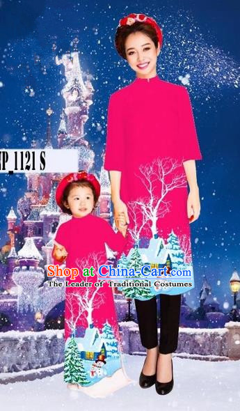 Traditional Top Grade Asian Vietnamese Costumes Classical Printing Christmas Rosy Full Dress, Vietnam National Ao Dai Dress Mother-daughter Cheongsam for Women for Kids