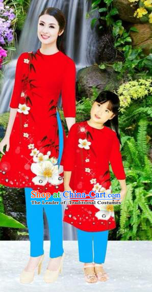 Traditional Top Grade Asian Vietnamese Costumes Classical Printing Flowers Red Full Dress, Vietnam National Ao Dai Dress Mother-daughter Cheongsam for Women for Kids