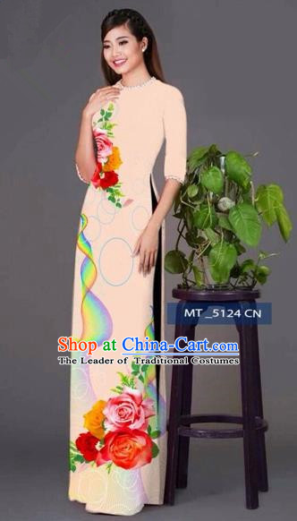 Traditional Top Grade Asian Vietnamese Costumes Classical Princess Printing Cheongsam, Vietnam National Ao Dai Dress Beige Full Dress for Women