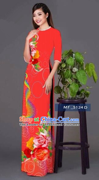 Traditional Top Grade Asian Vietnamese Costumes Classical Princess Printing Cheongsam, Vietnam National Ao Dai Dress Red Full Dress for Women