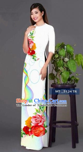 Traditional Top Grade Asian Vietnamese Costumes Classical Princess Printing Cheongsam, Vietnam National Ao Dai Dress White Full Dress for Women