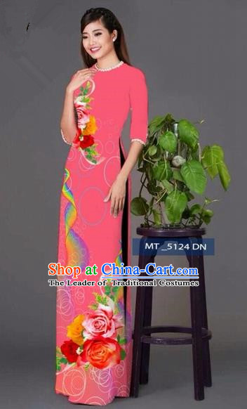 Traditional Top Grade Asian Vietnamese Costumes Classical Princess Printing Cheongsam, Vietnam National Ao Dai Dress Pink Full Dress for Women