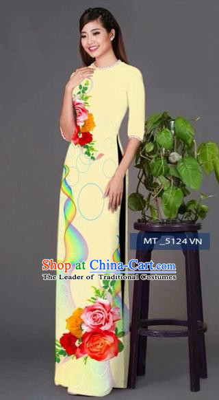Traditional Top Grade Asian Vietnamese Costumes Classical Princess Printing Cheongsam, Vietnam National Ao Dai Dress Light Yellow Full Dress for Women