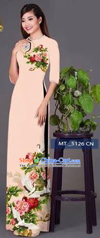 Traditional Top Grade Asian Vietnamese Costumes Classical Princess Printing Peony Flowers Cheongsam, Vietnam National Ao Dai Dress Beige Full Dress for Women