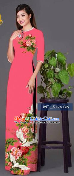 Traditional Top Grade Asian Vietnamese Costumes Classical Princess Printing Peony Flowers Cheongsam, Vietnam National Ao Dai Dress Pink Full Dress for Women