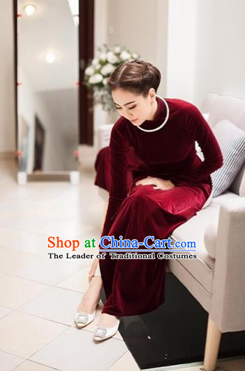 Traditional Top Grade Asian Vietnamese Costumes Classical Wine Red Cheongsam, Vietnam National Ao Dai Dress Wedding Bride Pleuche Full Dress for Women