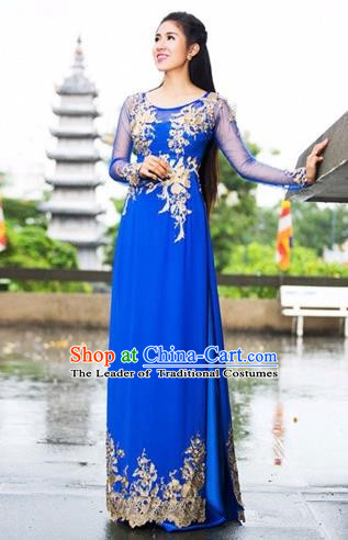 Traditional Top Grade Asian Vietnamese Costumes Classical Embroidery Cheongsam, Vietnam National Ao Dai Dress Blue Full Dress for Women