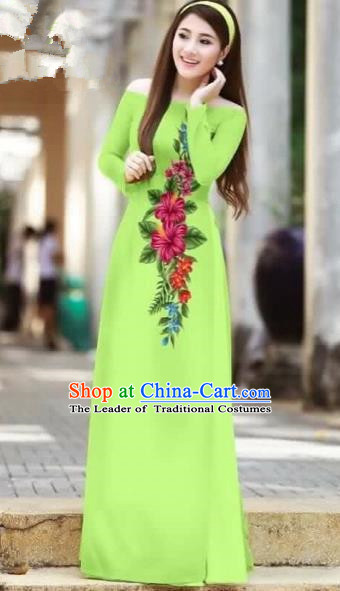 Traditional Top Grade Asian Vietnamese Costumes Classical Printing Cheongsam, Vietnam National Ao Dai Dress Beauty Contest Green Full Dress for Women