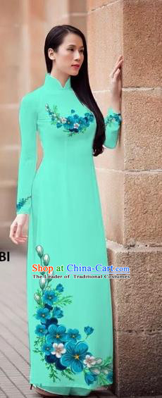 Traditional Top Grade Asian Vietnamese Costumes Classical Princess Printing Flowers Cheongsam, Vietnam National Ao Dai Dress Light Blue Full Dress for Women