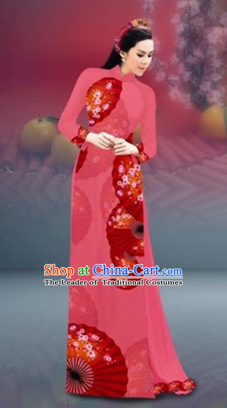 Traditional Top Grade Asian Vietnamese Costumes Classical New Year Printing Cheongsam, Vietnam National Pink Ao Dai Dress for Women