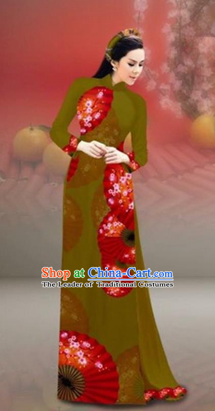 Traditional Top Grade Asian Vietnamese Costumes Classical New Year Printing Cheongsam, Vietnam National Olive Green Ao Dai Dress for Women
