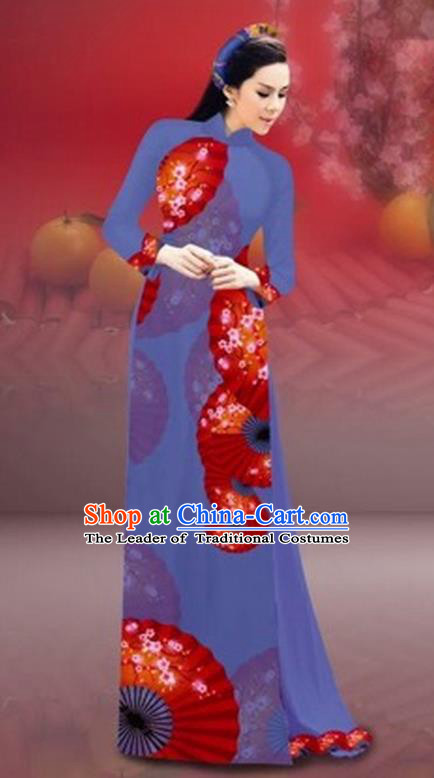 Traditional Top Grade Asian Vietnamese Costumes Classical New Year Printing Cheongsam, Vietnam National Dusty Blue Ao Dai Dress for Women