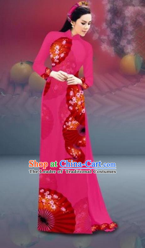 Traditional Top Grade Asian Vietnamese Costumes Classical New Year Printing Cheongsam, Vietnam National Rosy Ao Dai Dress for Women