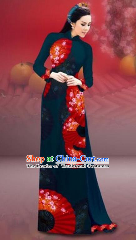 Traditional Top Grade Asian Vietnamese Costumes Classical New Year Printing Cheongsam, Vietnam National Peacock Blue Ao Dai Dress for Women