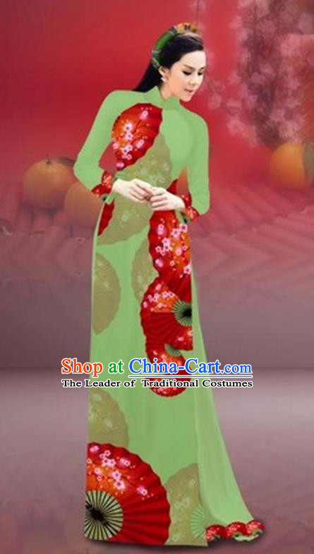Traditional Top Grade Asian Vietnamese Costumes Classical New Year Printing Cheongsam, Vietnam National Green Ao Dai Dress for Women