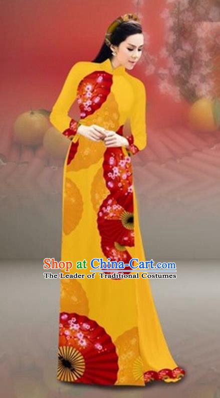 Traditional Top Grade Asian Vietnamese Costumes Classical New Year Printing Cheongsam, Vietnam National Bright Yellow Ao Dai Dress for Women