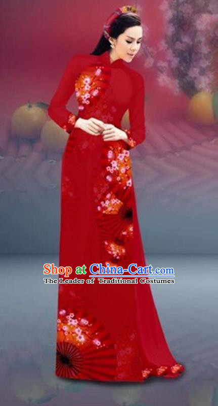 Traditional Top Grade Asian Vietnamese Costumes Classical New Year Printing Cheongsam, Vietnam National Red Ao Dai Dress for Women