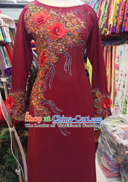 Traditional Top Grade Asian Vietnamese Costumes Classical Embroidering Flower Cheongsam, Vietnam National Red Ao Dai Dress for Women