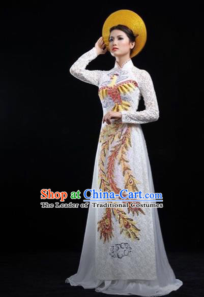 Traditional Top Grade Asian Vietnamese Costumes Classical Embroidering Phoenix Cheongsam, Vietnam National Wedding Bride Ao Dai Dress for Women