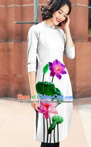 Traditional Top Grade Asian Vietnamese Costumes Classical Printing Lotus Cheongsam, Vietnam National White Short Ao Dai Dress for Women