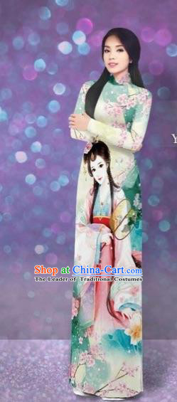 Traditional Top Grade Asian Vietnamese Costumes Classical Printing Beauty Cheongsam, Vietnam National Light Yellow Ao Dai Dress for Women