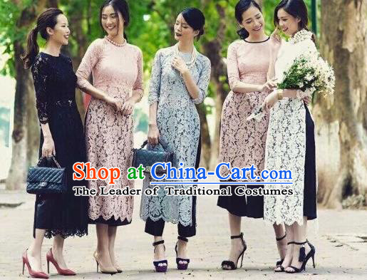 Traditional Top Grade Asian Vietnamese Costumes Classical Wedding Bride Lace Cheongsam, Vietnam National Ao Dai Dress for Women
