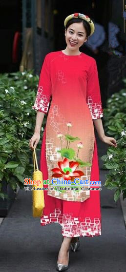 Traditional Top Grade Asian Vietnamese Costumes Classical Catwalks Printing Lotus Cheongsam, Vietnam National Red Ao Dai Dress for Women