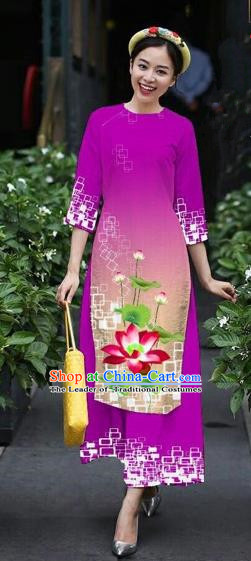 Traditional Top Grade Asian Vietnamese Costumes Classical Catwalks Printing Lotus Cheongsam, Vietnam National Amaranth Ao Dai Dress for Women