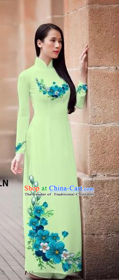 Traditional Top Grade Asian Vietnamese Costumes Classical Princess Printing Flowers Cheongsam, Vietnam National Ao Dai Dress Light Green Full Dress for Women