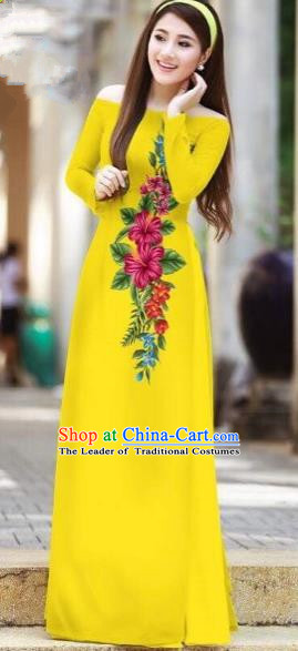Traditional Top Grade Asian Vietnamese Costumes Classical Printing Cheongsam, Vietnam National Ao Dai Dress Beauty Contest Yellow Full Dress for Women