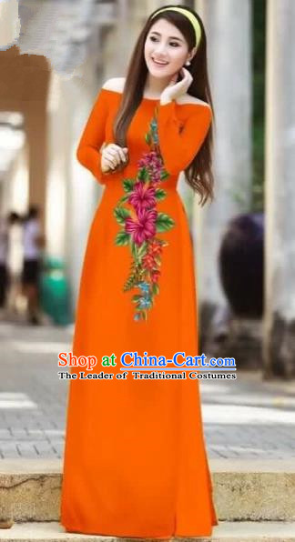 Traditional Top Grade Asian Vietnamese Costumes Classical Printing Cheongsam, Vietnam National Ao Dai Dress Beauty Contest Orange Full Dress for Women