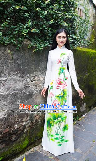 Traditional Top Grade Asian Vietnamese Costumes Classical Printing Lotus Cheongsam, Vietnam National Ao Dai Dress Princess White Full Dress for Women