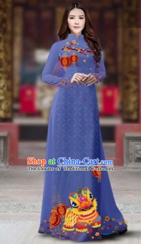 Traditional Top Grade Asian Vietnamese Costumes Classical Printing New Year Cheongsam, Vietnam National Ao Dai Dress Princess Dusty Blue Full Dress for Women