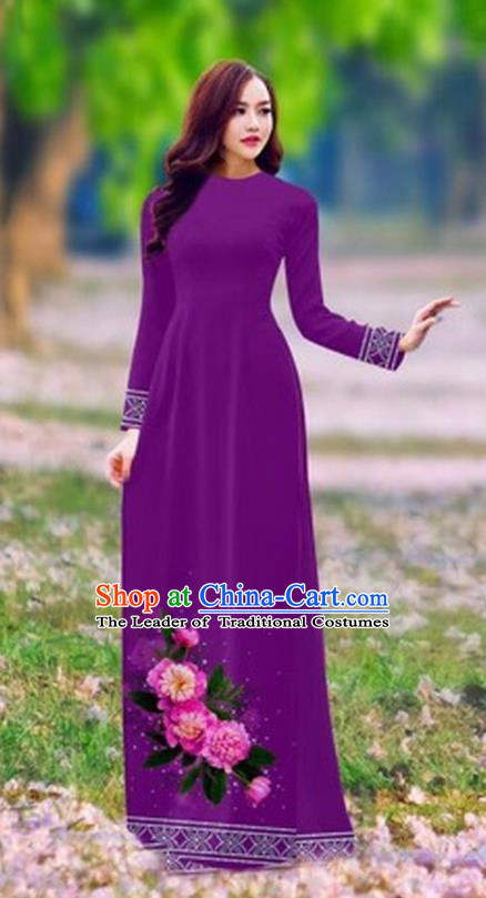Traditional Top Grade Asian Vietnamese Costumes Classical Printing Flower Cheongsam, Vietnam National Ao Dai Dress Princess Purple Full Dress for Women