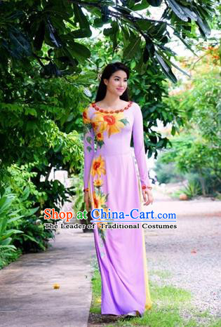 Traditional Top Grade Asian Vietnamese Costumes Classical Printing Cheongsam, Vietnam National Ao Dai Dress Princess Pink Chiffon Full Dress for Women