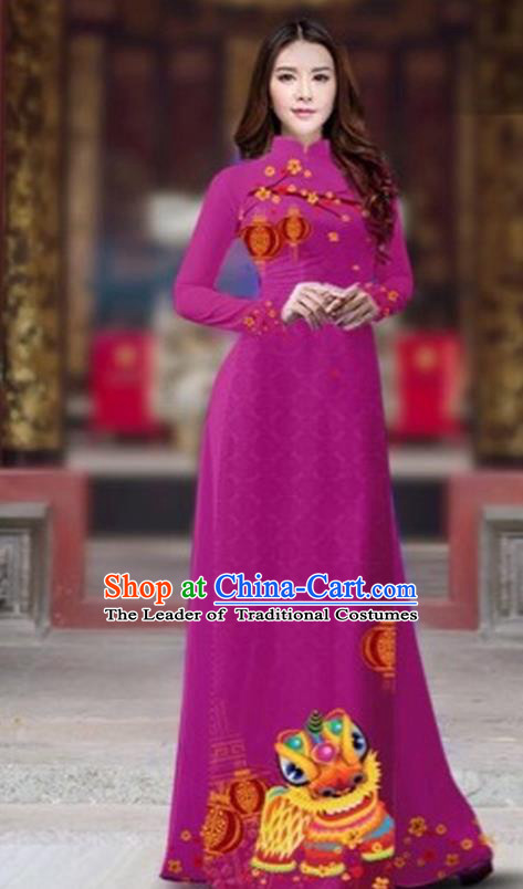 Traditional Top Grade Asian Vietnamese Costumes Classical Printing New Year Cheongsam, Vietnam National Ao Dai Dress Princess Purple Full Dress for Women