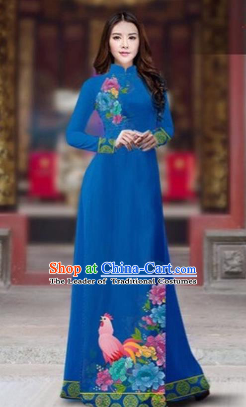 Traditional Top Grade Asian Vietnamese Costumes Classical Rooster Year Cheongsam, Vietnam National Ao Dai Dress Princess Peacock Blue Full Dress for Women