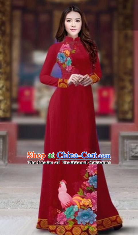 Traditional Top Grade Asian Vietnamese Costumes Classical Rooster Year Cheongsam, Vietnam National Ao Dai Dress Princess Wine Red Full Dress for Women