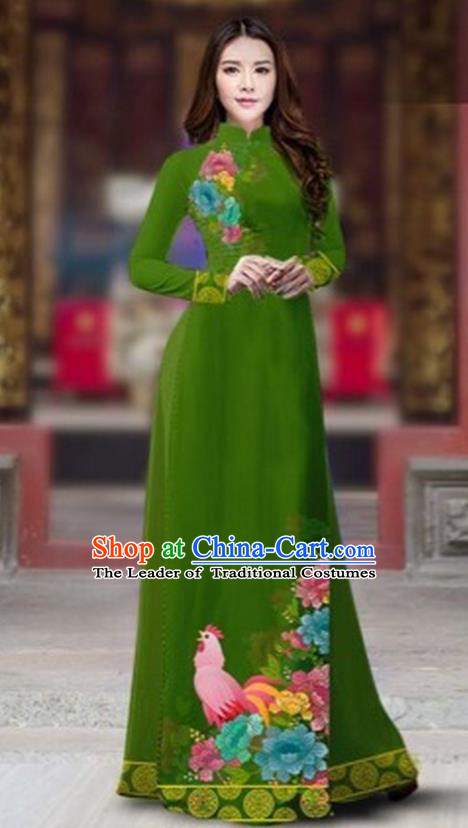 Traditional Top Grade Asian Vietnamese Costumes Classical Rooster Year Cheongsam, Vietnam National Ao Dai Dress Princess Green Full Dress for Women