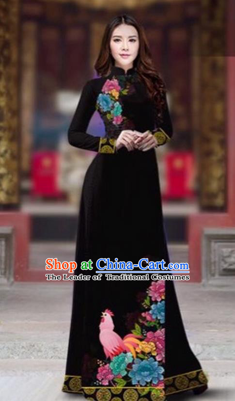 Traditional Top Grade Asian Vietnamese Costumes Classical Rooster Year Cheongsam, Vietnam National Ao Dai Dress Princess Black Full Dress for Women