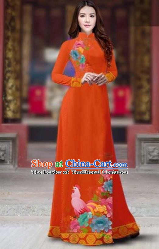 Traditional Top Grade Asian Vietnamese Costumes Classical Rooster Year Cheongsam, Vietnam National Ao Dai Dress Princess Orange Full Dress for Women