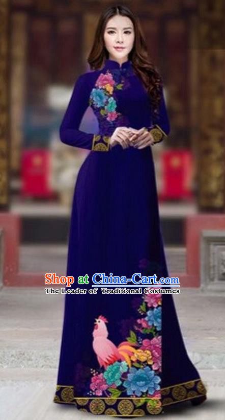 Traditional Top Grade Asian Vietnamese Costumes Classical Rooster Year Cheongsam, Vietnam National Ao Dai Dress Princess Royalblue Full Dress for Women