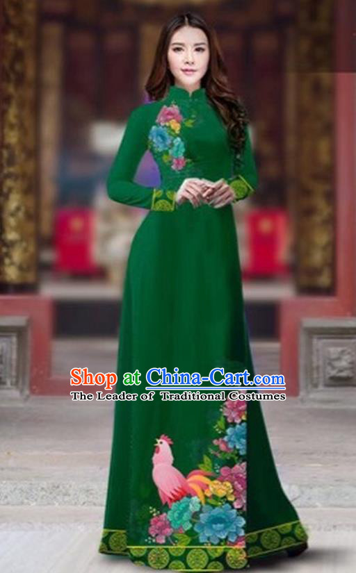 Traditional Top Grade Asian Vietnamese Costumes Classical Rooster Year Cheongsam, Vietnam National Ao Dai Dress Princess Deep Green Full Dress for Women